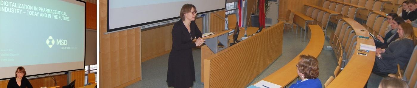 Dr. Vasilisa Sazonov in Petra Jereb predavanje na Fakulteti za farmacijo 16.1.2018
