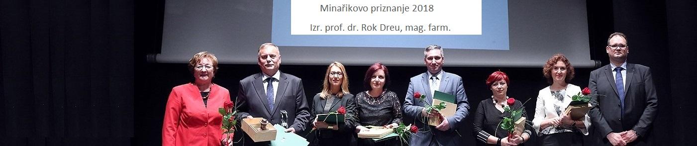 Izr. prof. dr. Rok Dreu, mag. farm. prejemnik Minařikovega priznanja 2018